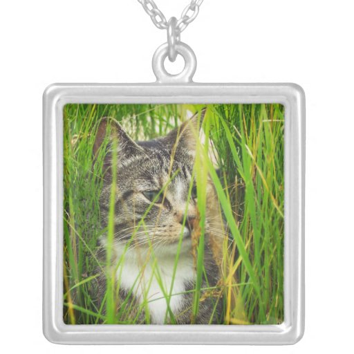 Cat in the Grass Square Necklace