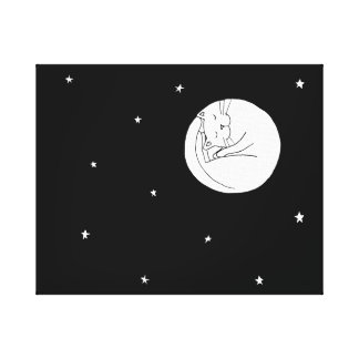 Cat in the moon canvas print