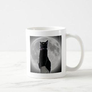 Cat in the Moon Basic White Mug