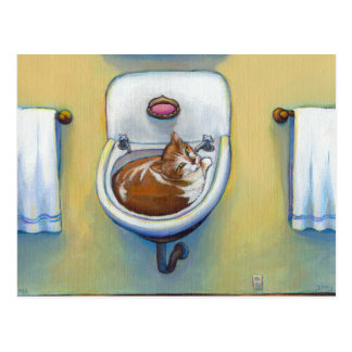 Cat in the sink painting fun happy whimsical art postcard