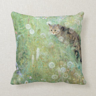 Cat in the Summer Meadow, Bruno Liljefors Throw Pillow