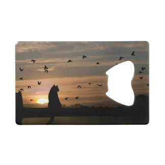 Cat in the Sunset Credit Card Bottle Opener