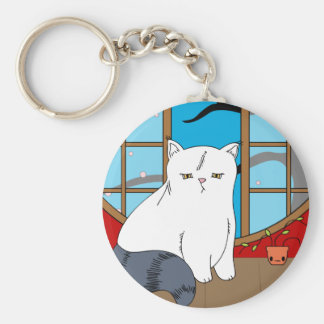 Cat in Window 2 Basic Round Button Key Ring
