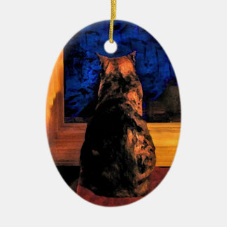 Cat in Window Christmas Ornament