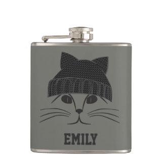 Cat in Wool Hat Hip Flask