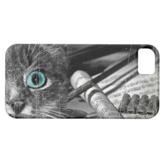 Cat iPhone 5 case Black and White Vintage