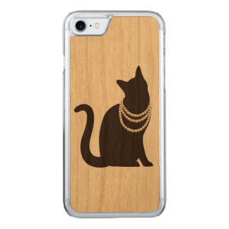 Cat iPhone 7 slim cherry wood case of necklace