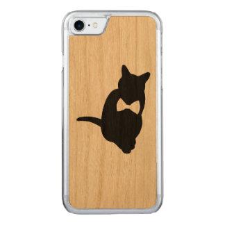 Cat iPhone 7 slim cherry wood case of ribbon