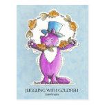 Cat Juggling with Goldfish close trim 22 2 2011... Post Card