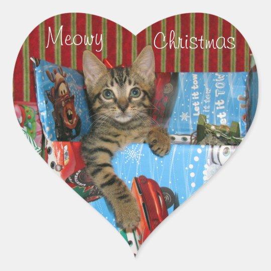 Cat, Kitten, Christmas, Rescue, Photo Heart Sticker