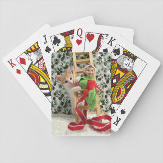 Cat, Kitten, Christmas, Rescue, Photo Playing Cards