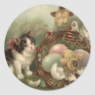 Cat Kitten Easter Colored Painted Egg Chick Round Sticker