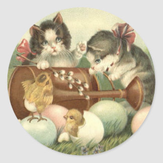Cat Kitten Easter Colored Painted Egg Chick Stickers