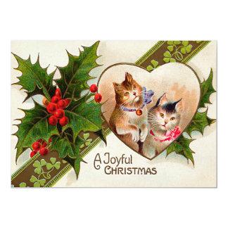 Cat Kitten Heart Shamrock Holly 13 Cm X 18 Cm Invitation Card