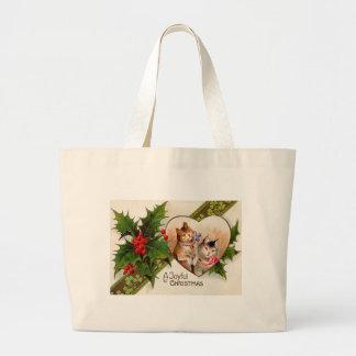 Cat Kitten Heart Shamrock Holly Jumbo Tote Bag