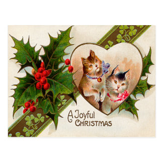 Cat Kitten Heart Shamrock Holly Postcard