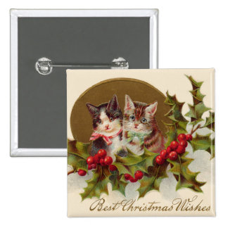 Cat Kitten Holly Winterberry 15 Cm Square Badge