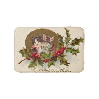Cat Kitten Holly Winterberry Bath Mat