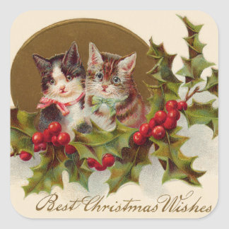 Cat Kitten Holly Winterberry Square Sticker