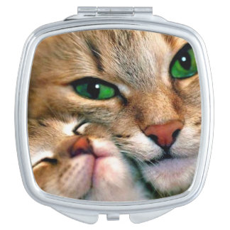 Cat & Kitten Square Compact Mirror