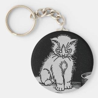 Cat Kitten Who Got the Cream Illustration Key Chain
