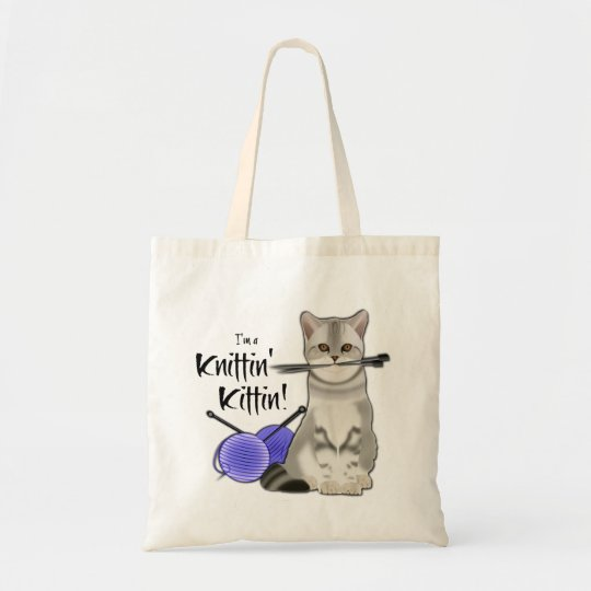 Cat Knitting bag cotton tote with handles blue