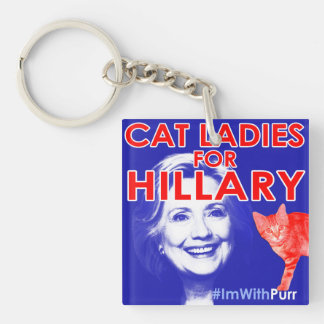 Cat Ladies for Hillary Square Keychain