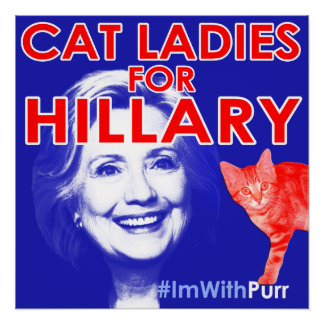 Cat Ladies for Hillary Square Poster