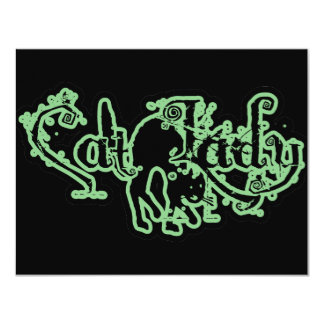 Cat Lady Green 11 Cm X 14 Cm Invitation Card