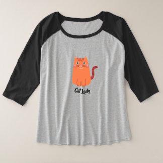 Cat Lady Typography with Cute Orange Tabby Cat Plus Size Raglan T-Shirt