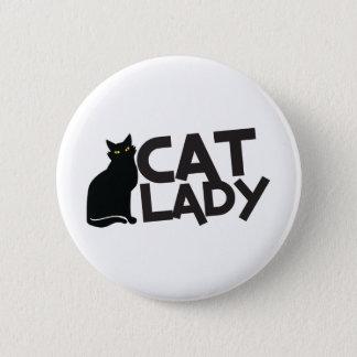 cat lady with slinky black cat yellow eyes 6 cm round badge