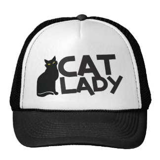 cat lady with slinky black cat yellow eyes trucker hats