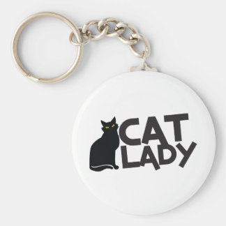 cat lady with slinky black cat yellow eyes basic round button key ring