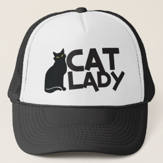 cat lady with slinky black cat yellow eyes trucker hat