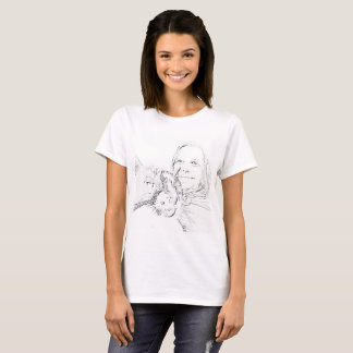 Cat Lady Woman Outline Drawing Tee Shirts