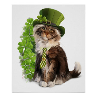 Cat-leprechaun Poster