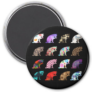 Cat Licking its Paw Aztec Floral Stripes Pattern 7.5 Cm Round Magnet