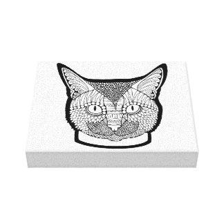 Cat Line Art Design Canvas Print