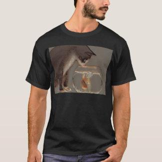 Cat Looking at Goldfish Bowl T-Shirt