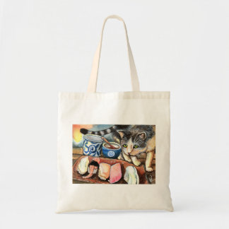 Cat Looking at Sushi Tote Bag