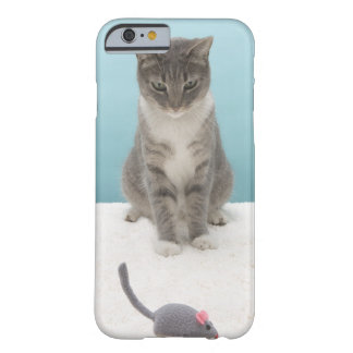 Cat looking at toy mouse on rug barely there iPhone 6 case