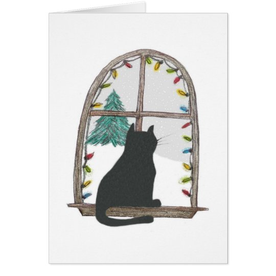 Cat looking out a window card