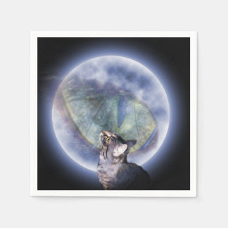 Cat Looking Up At Cat Moon Eye, Disposable Napkin