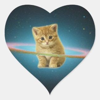 Cat lost in space heart sticker