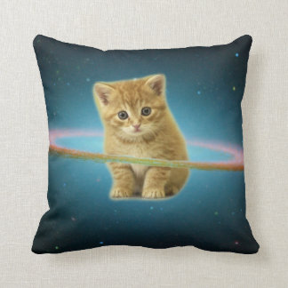 Cat lost in space throw pillow