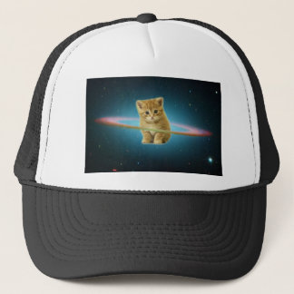 Cat lost in space trucker hat