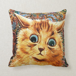 Cat, Louis Wain Throw Pillow