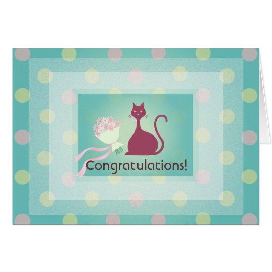 Cat Love Flowers Congratulations Greeting Card