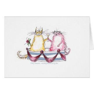 cat love - funny cartoon, tony fernandes greeting card