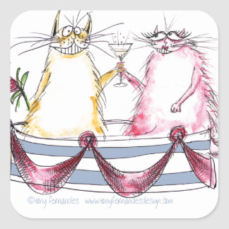 cat love - funny cartoon, tony fernandes square sticker